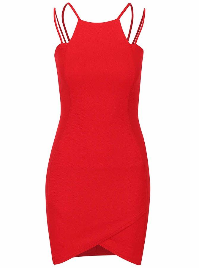 Rochie roșie AX Paris cu bretele multiple