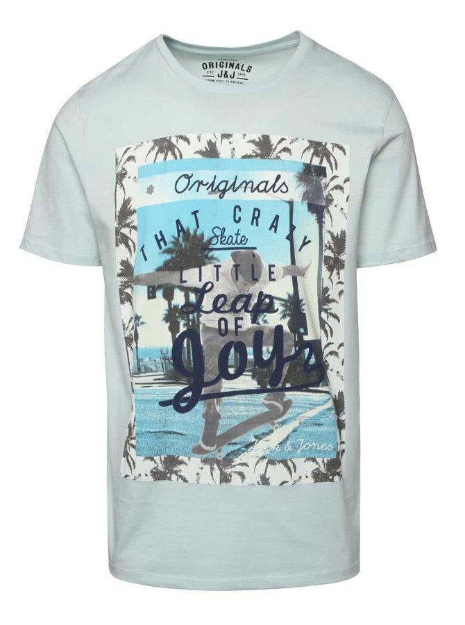 Mentolové tričko s farebnou potlačou Jack & Jones Scater