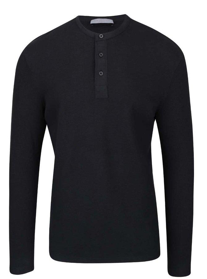 Bluză neagră Selected Homme Done cu nasturi