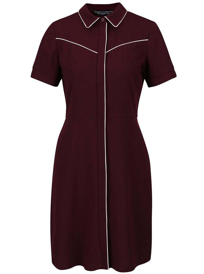 Vínové šaty s límečkem a krémovým lemováním Dorothy Perkins