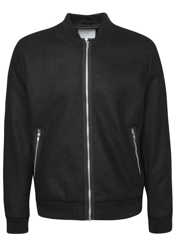 Čierny bomber Jack & Jones Wool