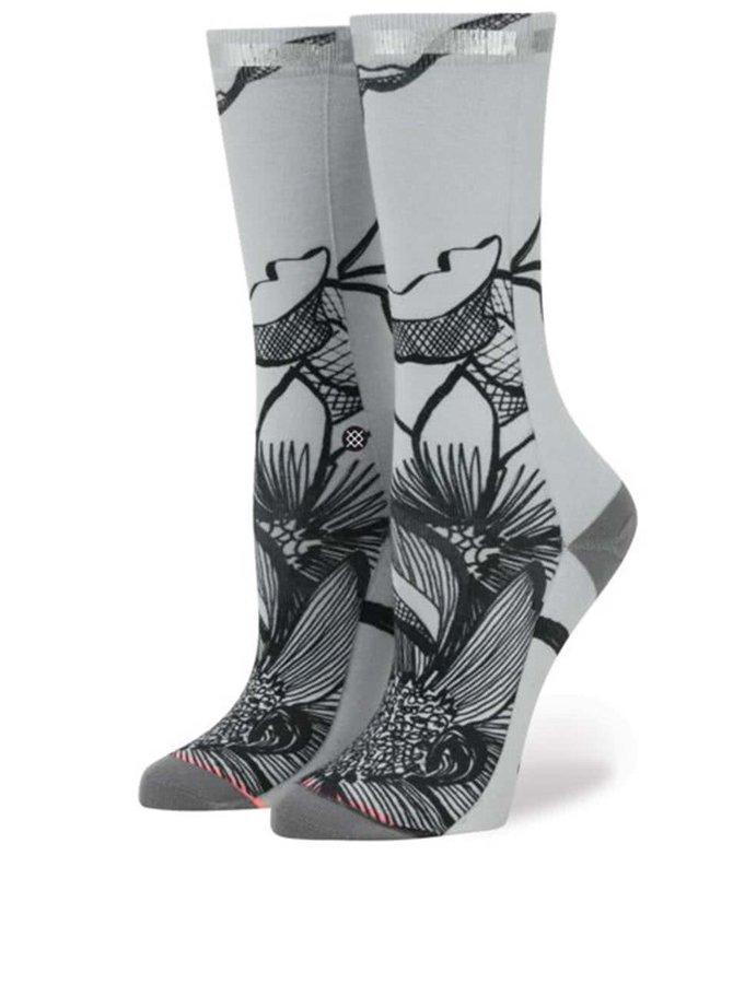 Sivé dámske vzorované ponožky Stance Lined Leaves