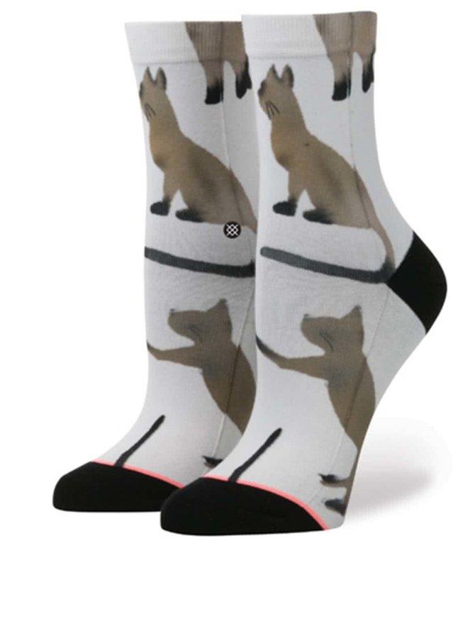 Șosete albe cu model Stance Cats de damă