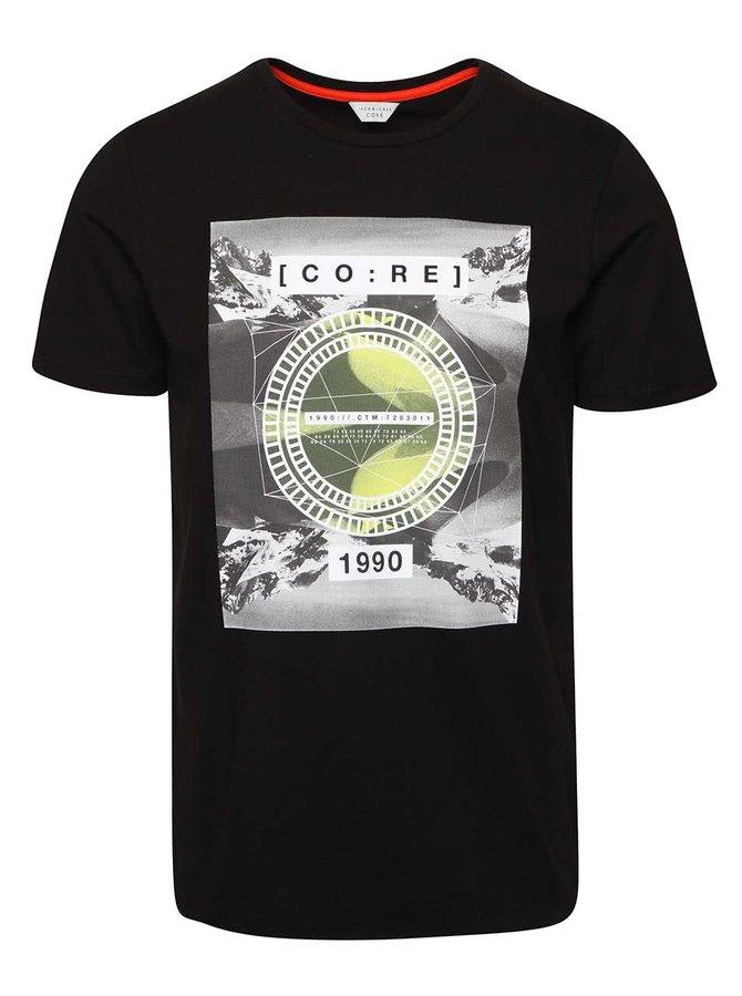 Tricou negru Jack & Jones Tap din bumbac cu print