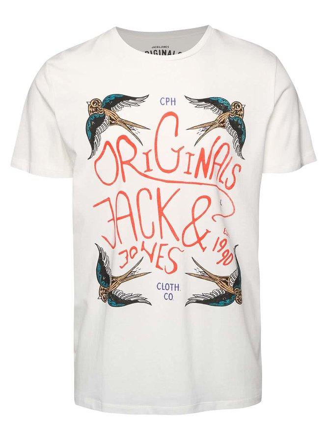 Krémové tričko s potlačou vtákov Jack & Jones Seikei