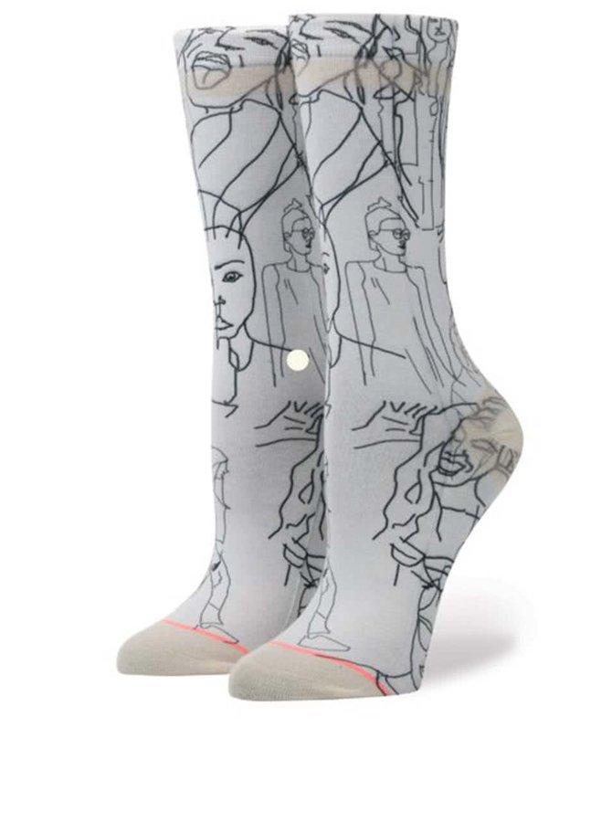 Světle šedé dámské vzorované ponožky Stance Faces