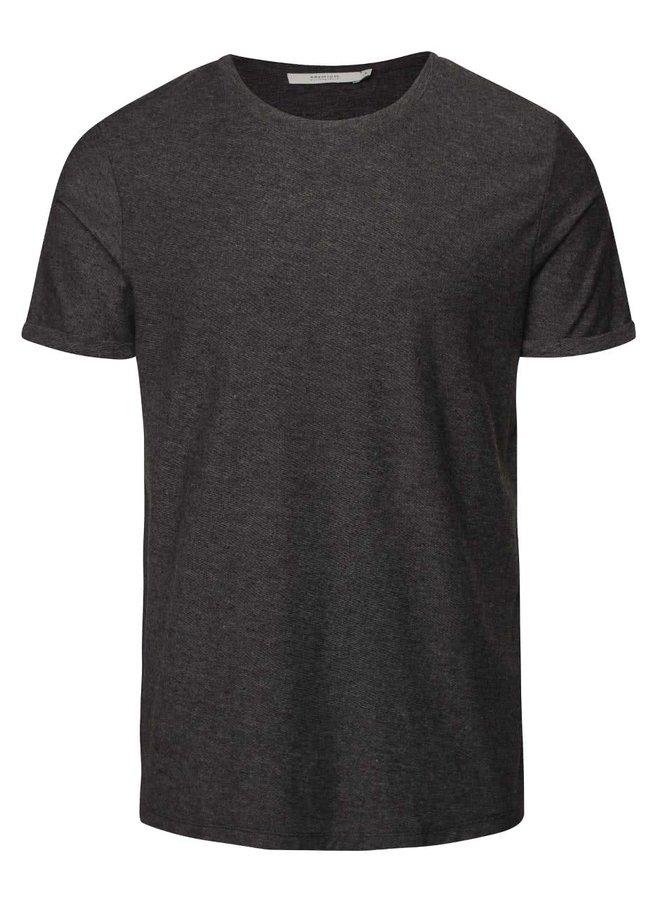 Tmavě šedé žíhané  triko s jemnou strukturou  Jack & Jones Raw