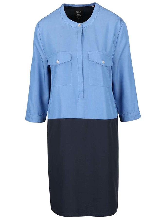Rochie albastră cu gri  gsus cu aspect 2în1