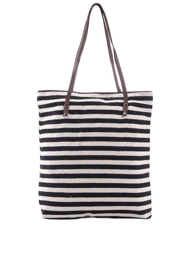 Krémovo-černá pruhovaná taška Haily's Laura