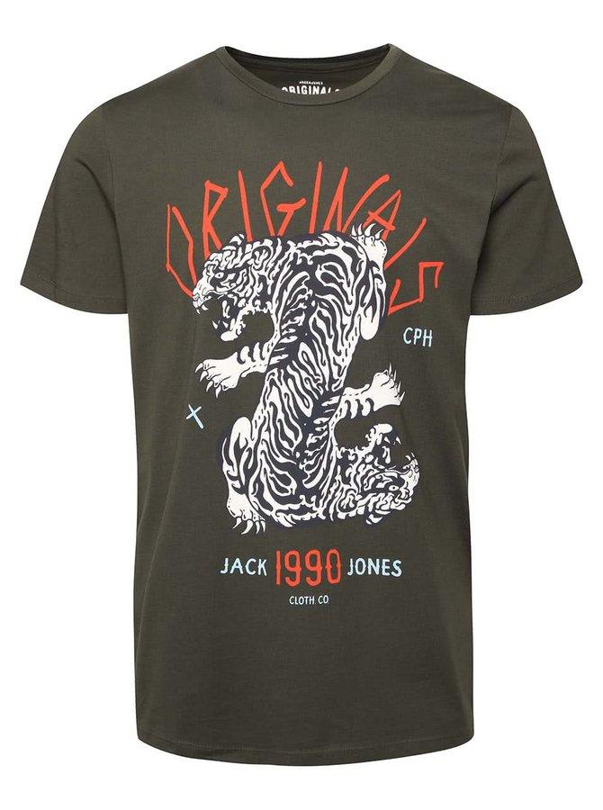 Kaki tričko s potlačou tigra Jack & Jones Seikei