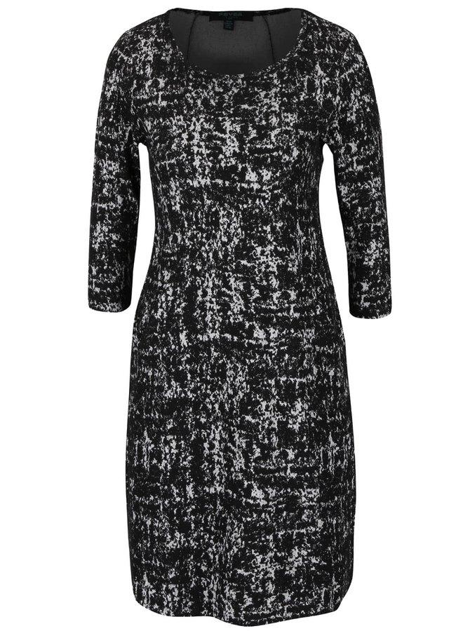 Čierne vzorované strečové šaty s vreckami Fever London Logan