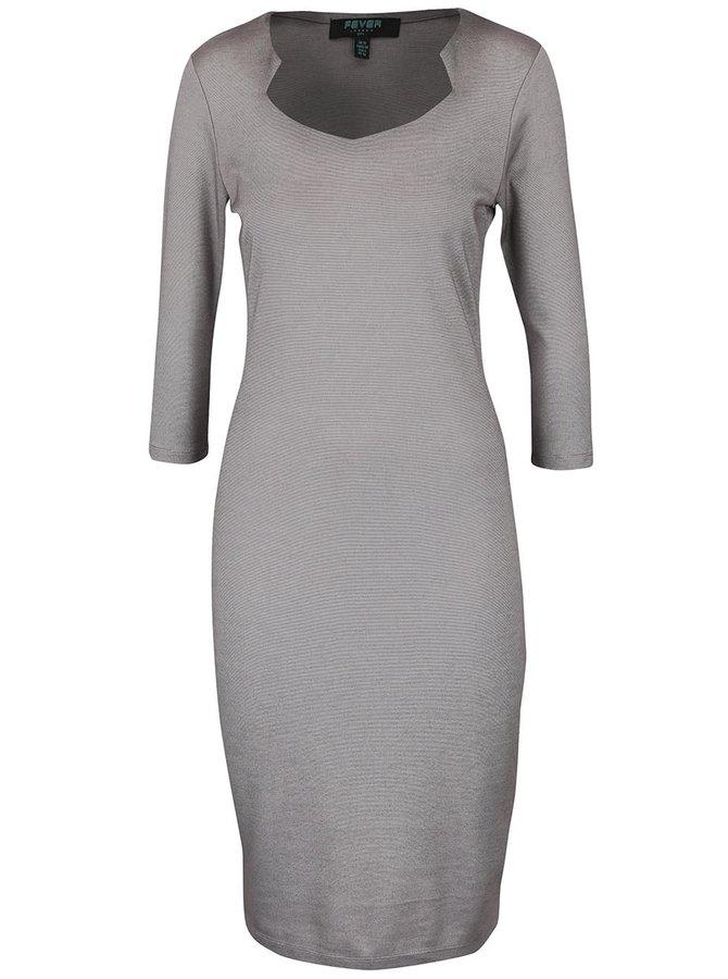 Sivé priliehavé šaty s 3/4 rukávmi Fever London Gretta