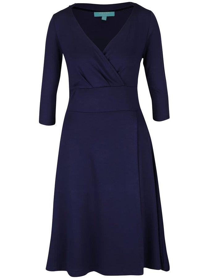 Tmavě modré překládané šaty Fever London Andrea