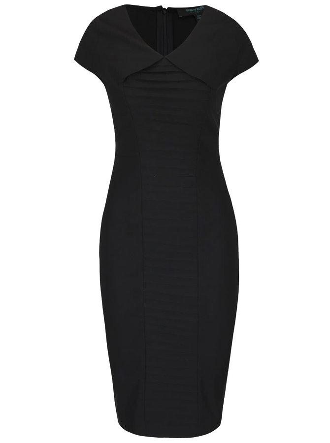 Čierne puzdrové šaty so skladmi Fever London Eve