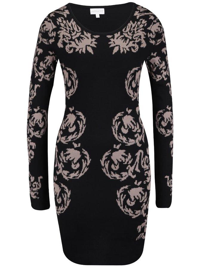 Čierne šaty s kvetinovou potlačou Apricot