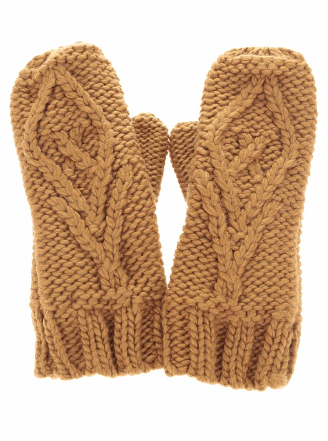 Hnědé pletené rukavice Pieces Polka