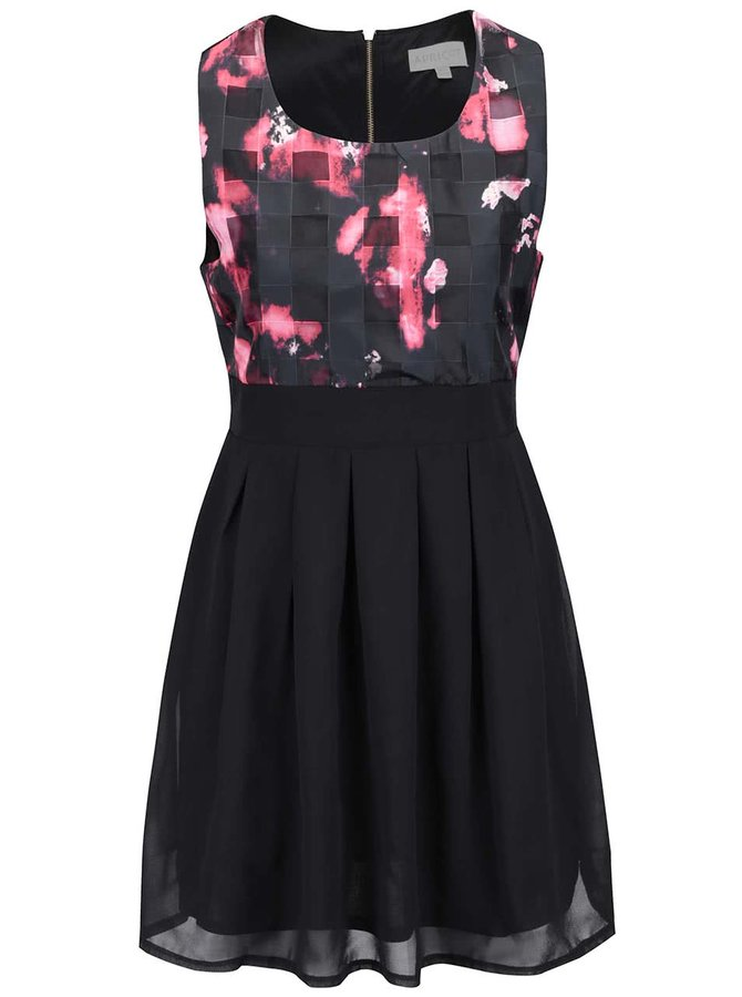 Čierne šaty s červeným vzorom a mašľou Apricot
