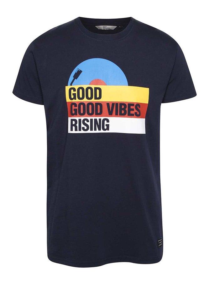 Tmavomodré pánske tričko s potlačou RVLT