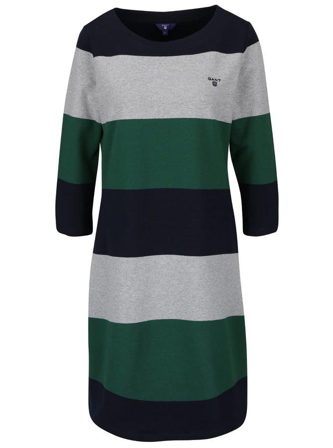 Zeleno-modré pruhované šaty s 3/4 rukávmi GANT
