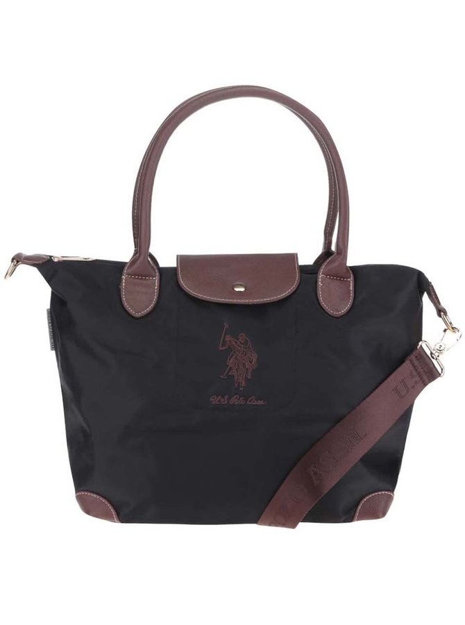 Čierna väčšia kabelka do ruky s odnímateľným popruhom U.S. Polo Assn