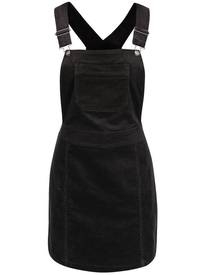 Tmavě šedé manšestrové šaty s lacly a kapsou Dorothy Perkins