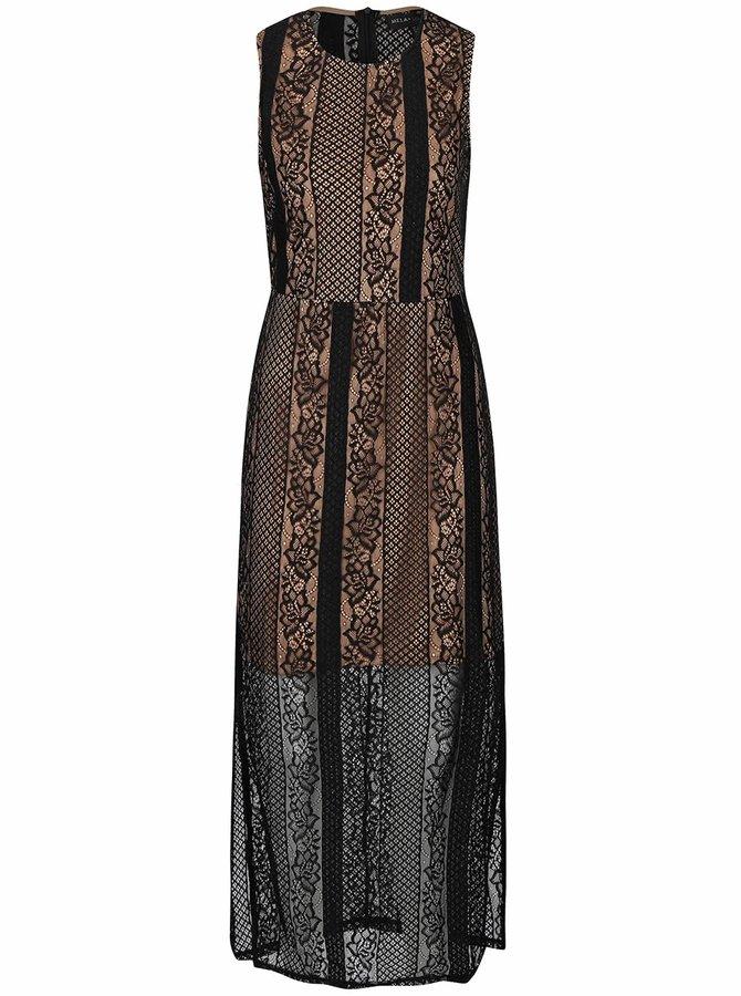 Krémovo-čierne čipkové dlhé šaty Mela London