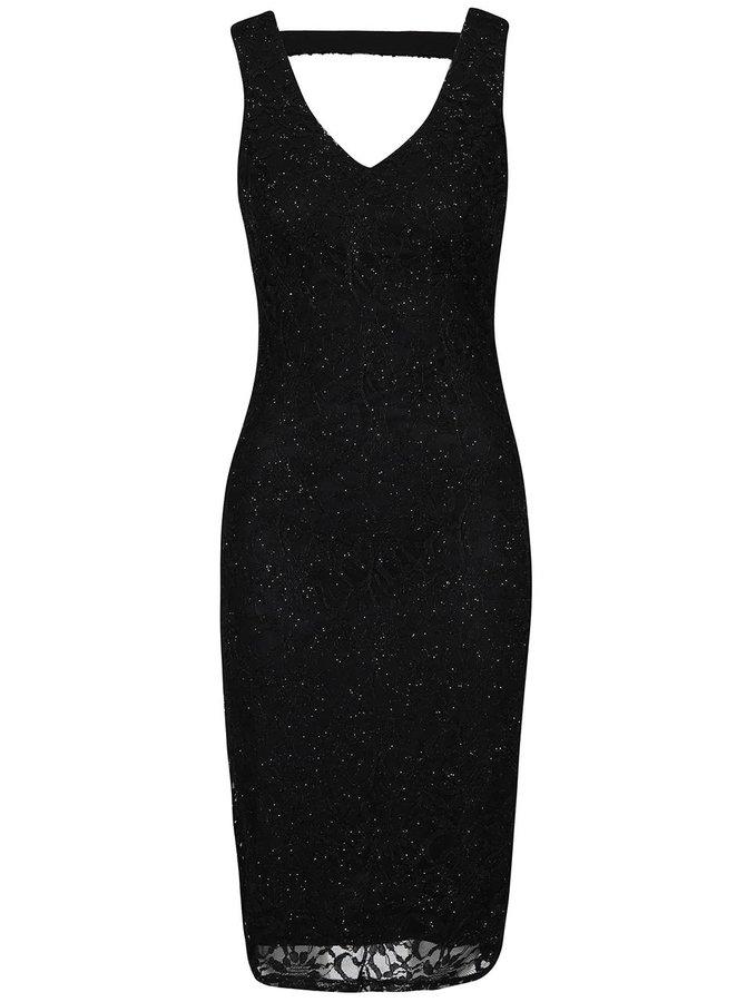 Rochie neagră Mela London din dantelă, cu aplicații