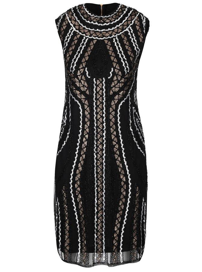 Čierne šaty s flitrami a korálikmi Mela London