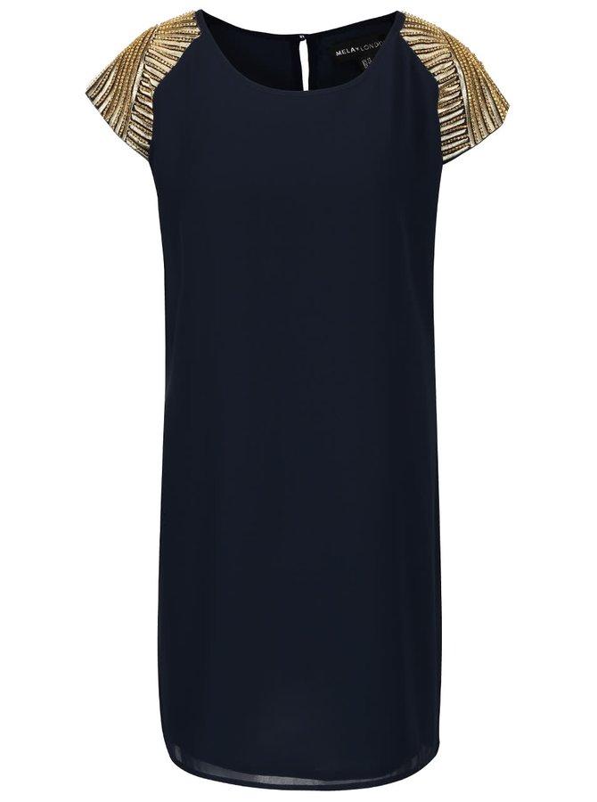 Rochie neagră Mela London cu aplicații aurii