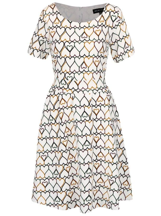 Krémové šaty so srdiečkami Mela London