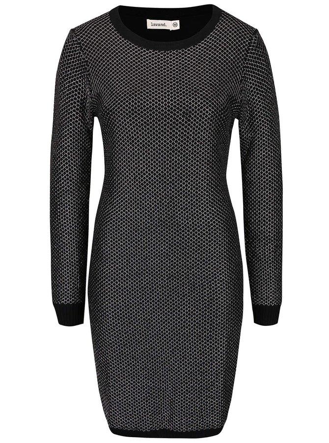 Černé úpletové šaty s metalickým prošíváním a dlouhým rukávem Lavand