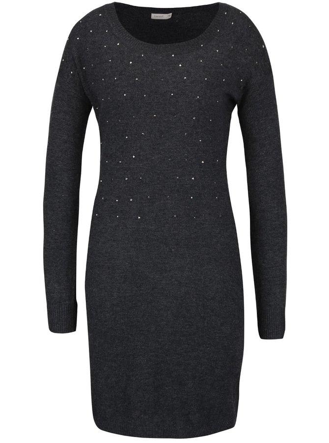 Tmavě šedé svetrové šaty Lavand