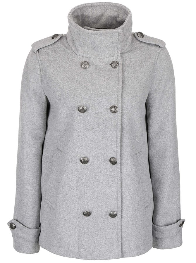 Světle šedý kratší kabát VERO MODA Abelle