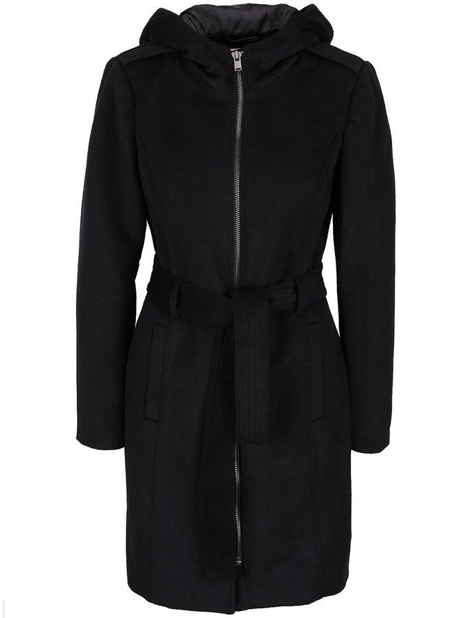 Černý kabát na s kapucí Vero Moda Fedora