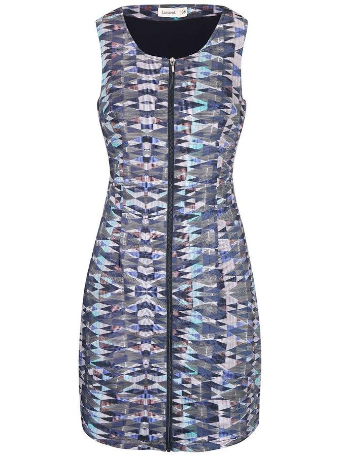Ružovo-modré vzorované šaty na zips Lavand