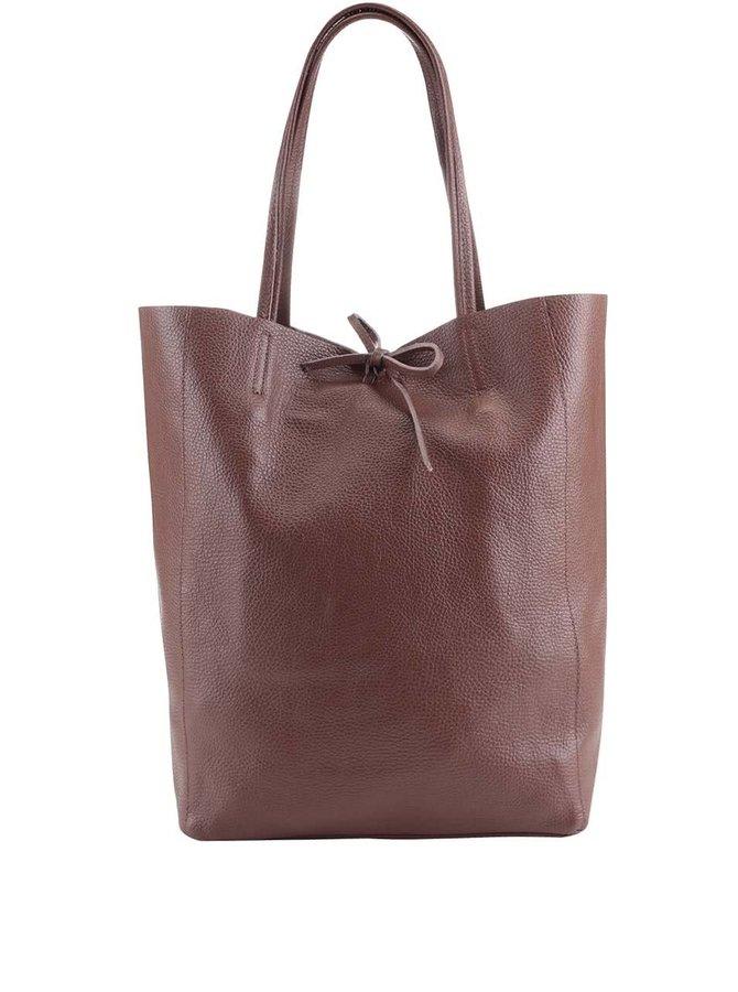 Hnedý kožený shopper ZOOT Simple