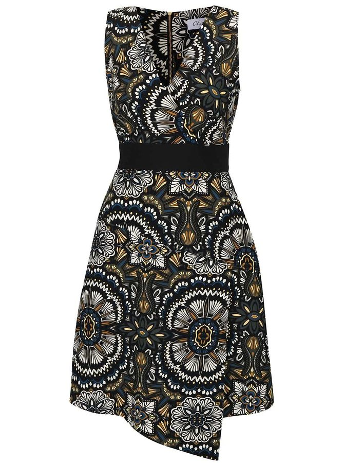 Krémovo-černé květované šaty Closet