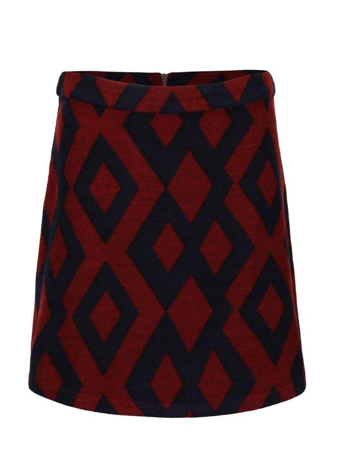 Modro-červená vzorovaná minisukně VERO MODA Alyssa