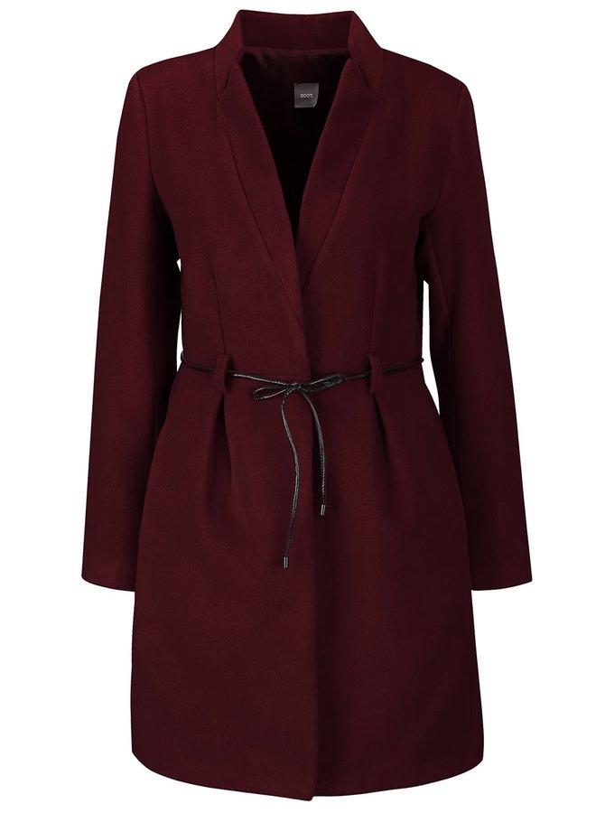 Vínový kabát s tenkým páskem ZOOT Simple