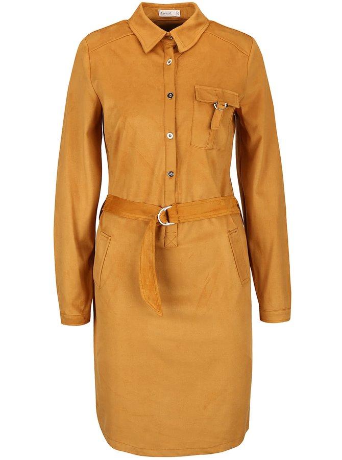 Svetlohnedé košeľové šaty v semišovej úprave Lavand