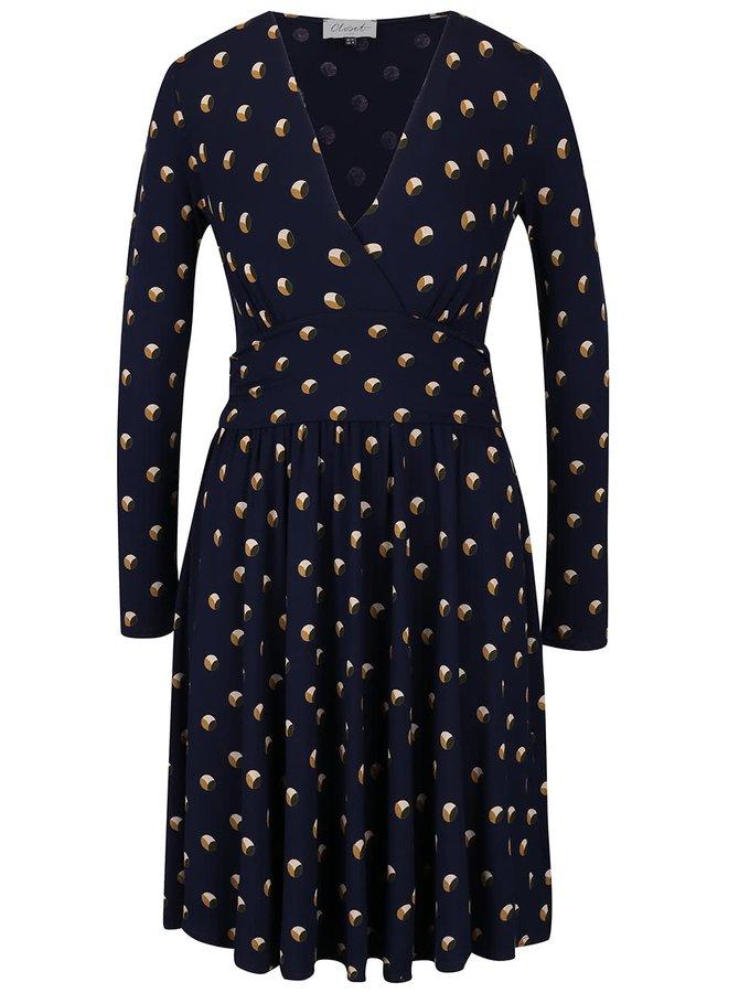 Tmavomodré šaty s hnedým vzorom a dlhým rukávom Closet