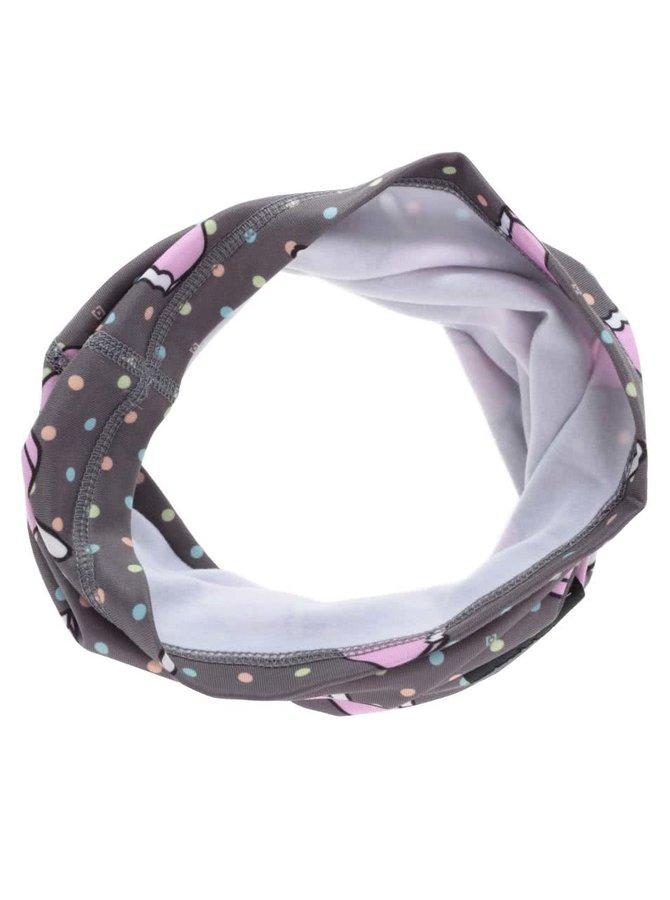 Eșarfă circulară Horsefeathers Warmer gri cu buline roz