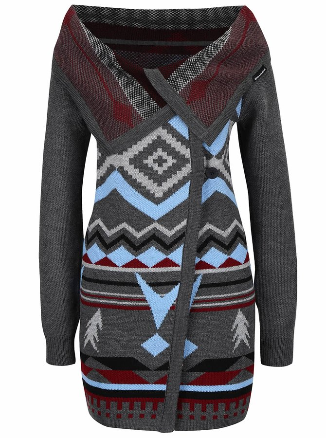 Cardigan gri Horsefeathers Autumn cu model colorat