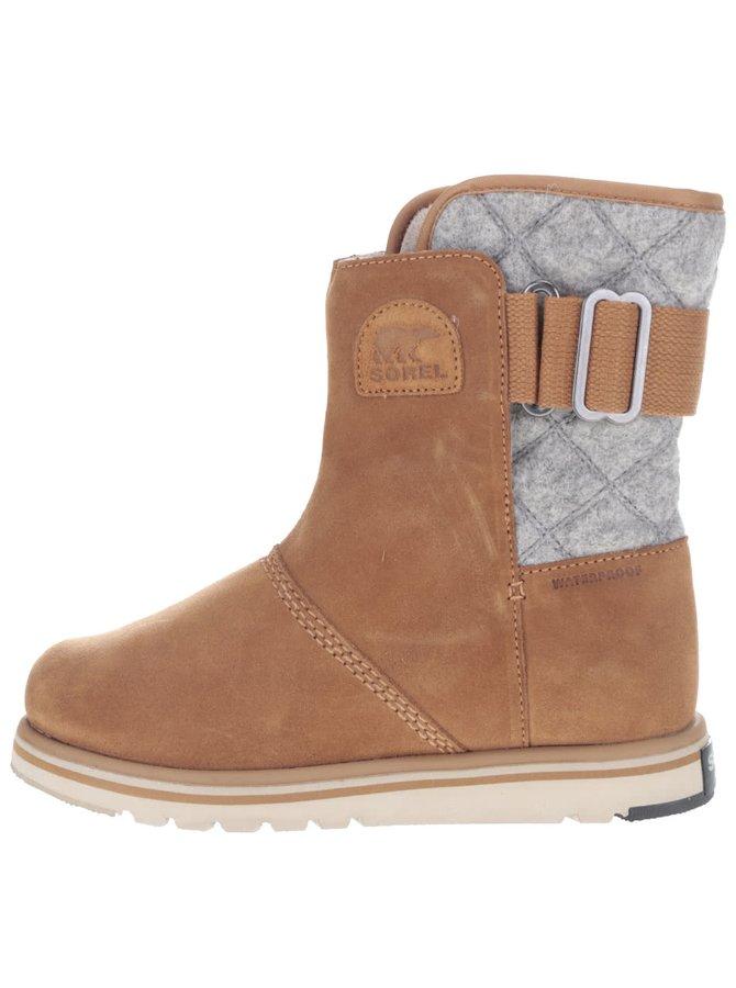 Šedo-hnědé kožené voděodolné zimní boty SOREL Rylee
