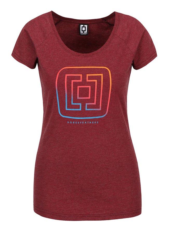 Vínové dámske melírované tričko s logom Horsefeathers Aurora