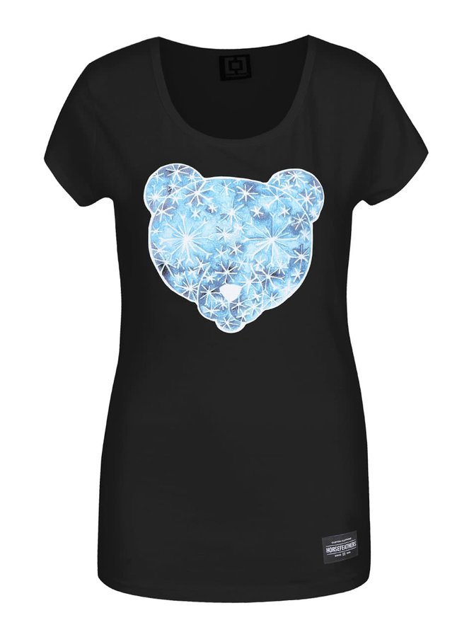 Tricou negru Horsefeathers Polar Bear cu print