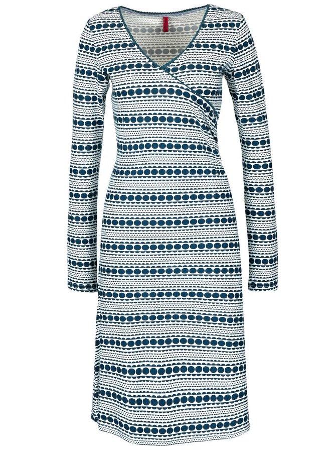 Petrolejovo-krémové vzorované šaty Tranquillo Nara