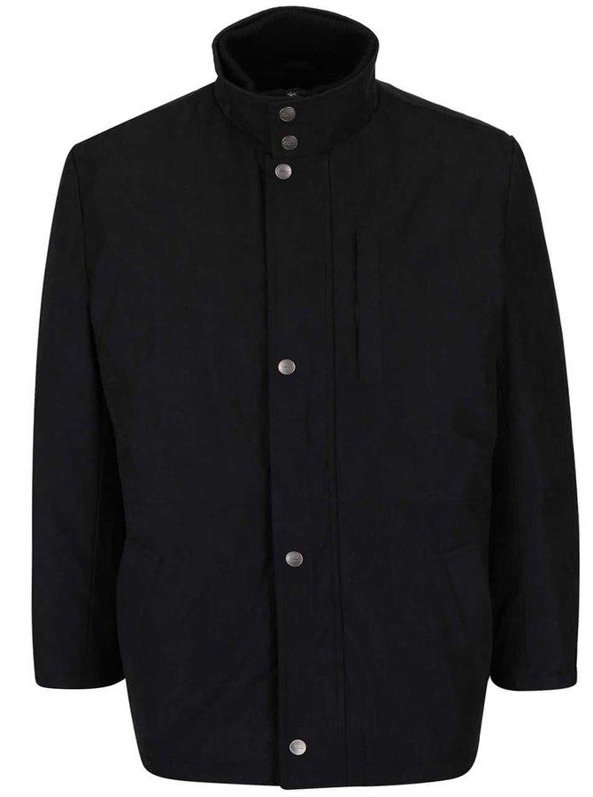 Čierna pánska bunda s gombíkmi v nadmernej veľkosti Seven Seas X-big