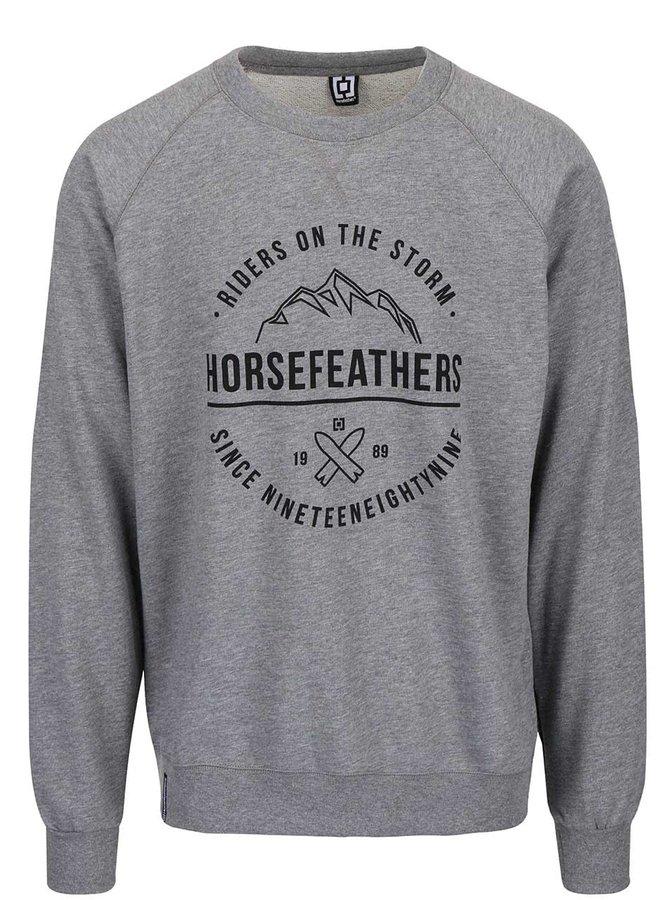 Sivá pánska melírovaná mikina s nápisom Horsefeathers Timothy