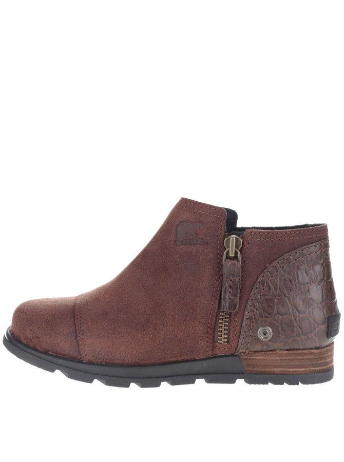 Hnedé dámske kožené členkové topánky SOREL Major Low